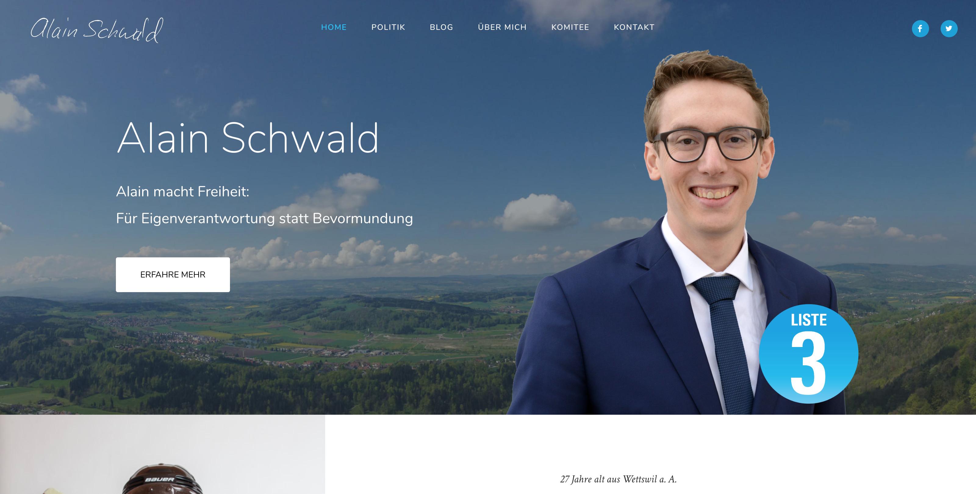 Webseite Alain Schwald Startseite
