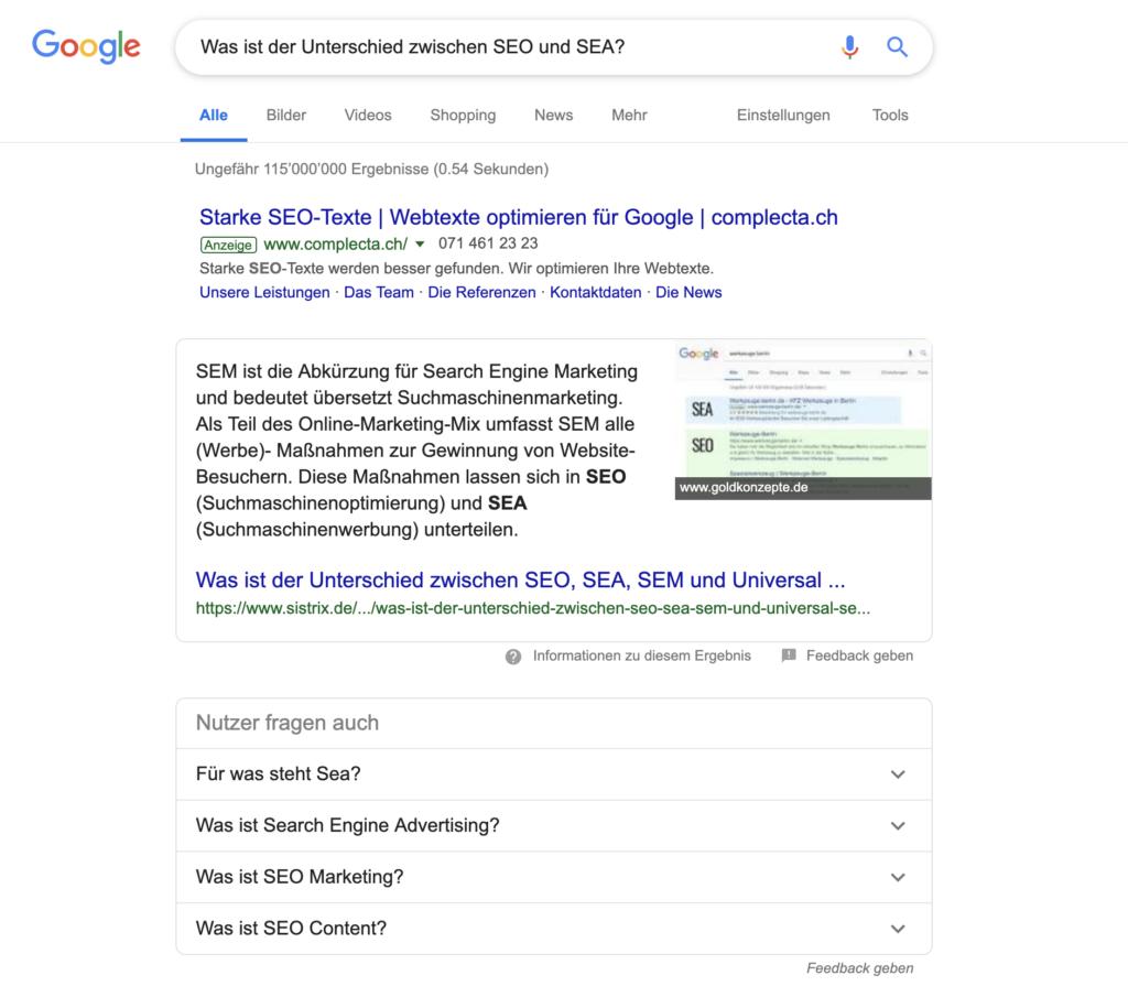 Featured Snippet Google Suche.